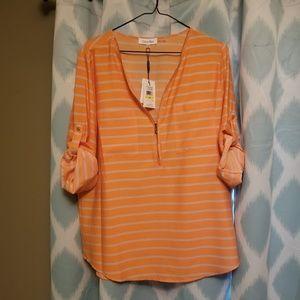 Peachy Orange Calvin Klein Zipper Blouse
